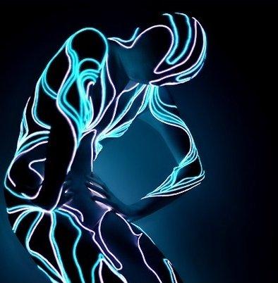 LED Kostüm Skelett Strichmännchen Anzug